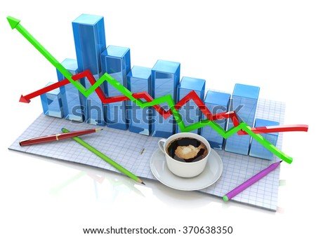 Business graph and documents, Business accounting for the design of information related to business and economy - stock photo