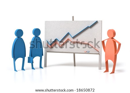 Business graph and emotions. The composition which manually has been cut out from a colour paper. - stock photo