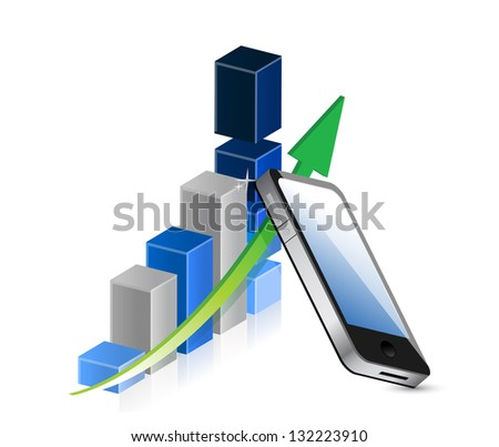 Business graph and mobile phone illustration design over white - stock photo