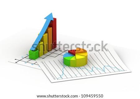 Business graph  and Pie chart - stock photo