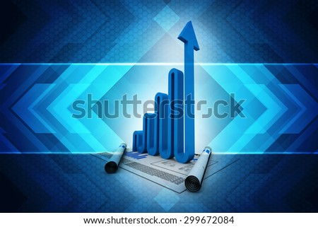 Business graph background - stock photo