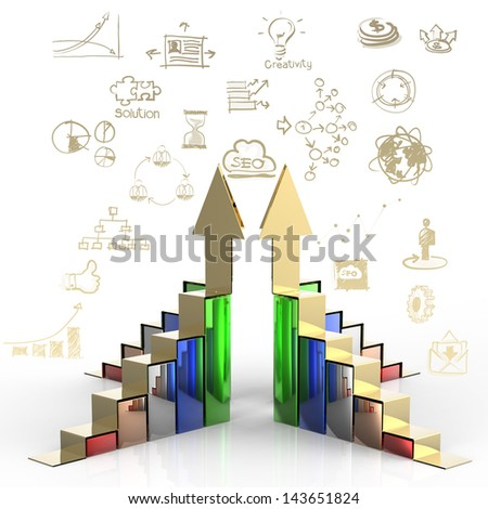 Business graph bar growth as business concept - stock photo