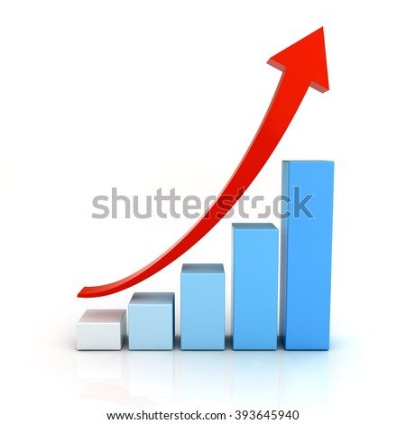 Business graph chart with red rising arrow isolated over white background with reflection - stock photo