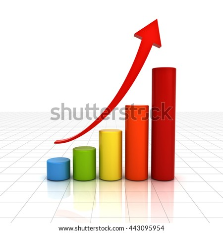 Business graph chart with red rising arrow over white background with reflection. 3D rendering. - stock photo