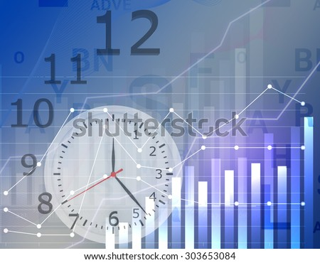 Business graph clock time with grid showing profits and gains