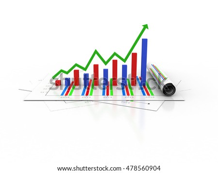 business graph 3d rendaring