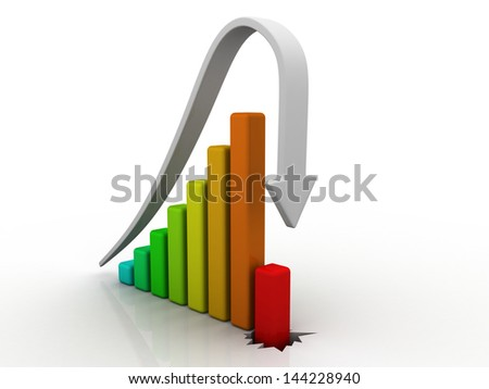 Business Graph decline - stock photo