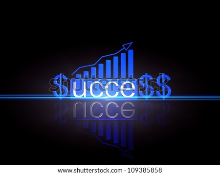Business graph growing with success.Isolated in black Background - stock photo