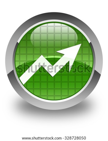 Business graph icon glossy soft green round button - stock photo