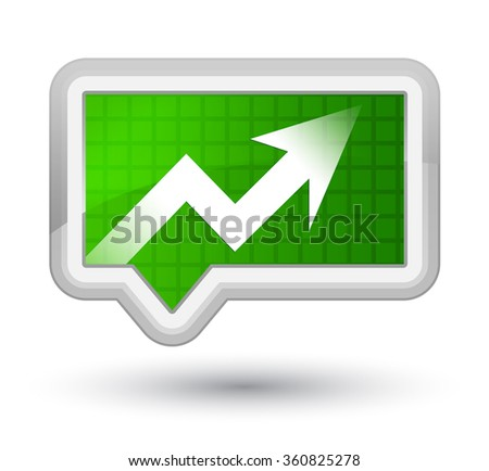 Business graph icon green banner button - stock photo