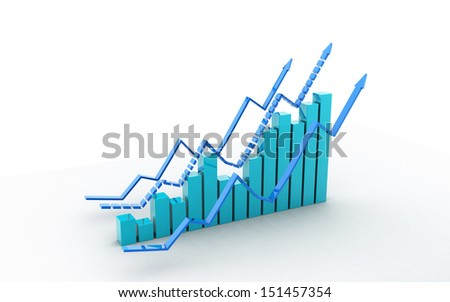 Business graph in white background