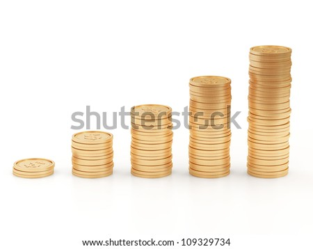 Business Graph made from Golden Coins isolated on white background - stock photo