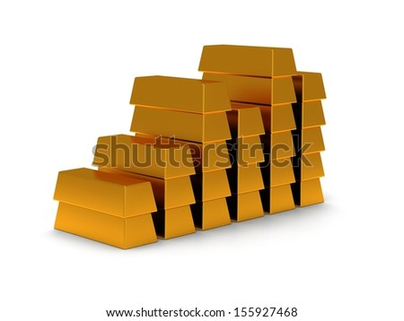 business graph of gold bars 3d render on white back