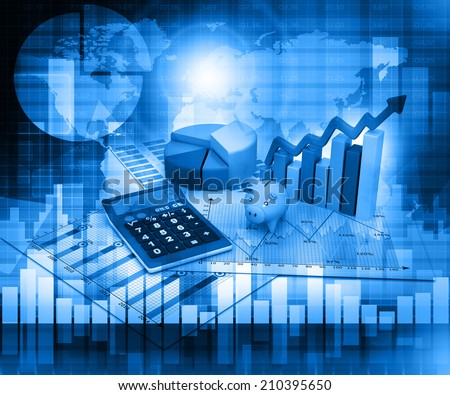 Business Graph on blue background 	 - stock photo