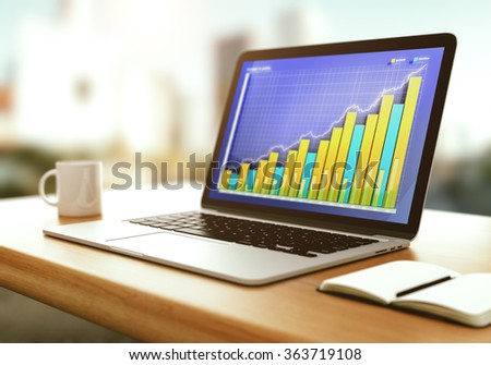 Business graph on laptop screen with opened diary and cup of coffee on wooden table - stock photo