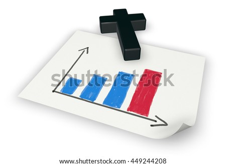 business graph on paper and christian cross - 3d rendering - stock photo