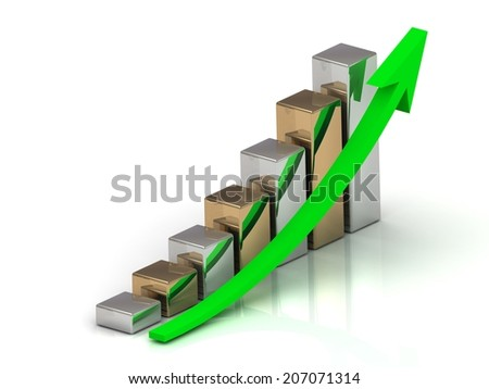 Business graph output growth of silver and golden bars and green arrows