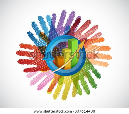 business graph over a color hands diversity concept. illustration design - stock photo