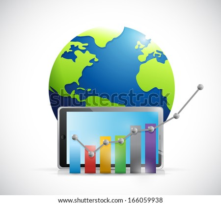 business graph over a tablet and globe. illustration design over a white background