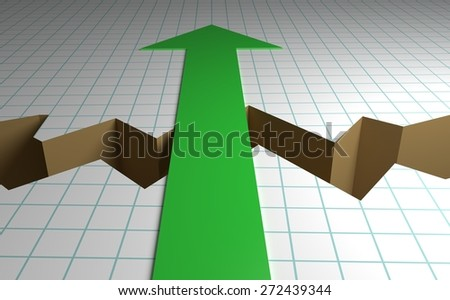 Business graph paper with a crack down the middle and a green arrow showing the way forward - stock photo