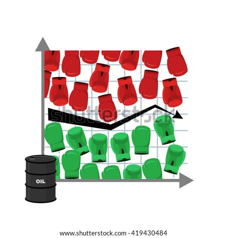 Business graph. Rise and fall of oil price. Barrel of petroleum.Red and Green boxing gloves. Sstruggle of traders in securities market. Players Exchange