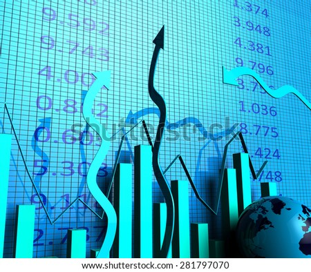 Business Graph Showing Financial Report And Statistic - stock photo