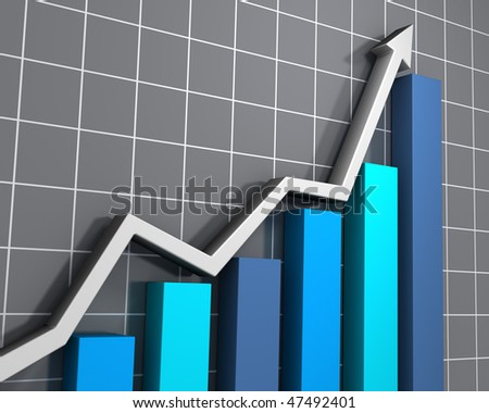 Business graph showing growth - stock photo