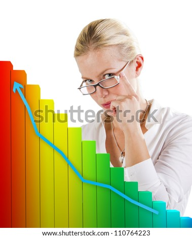 Business graph showing growth in front of a woman