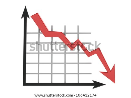 Business graph showing lose - stock photo