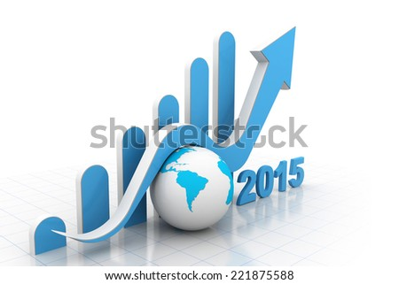 Business graph, two thousand fifteen - stock photo