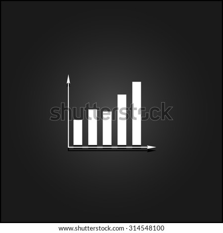 Business graph. White flat simple icon illustration with shadow on a black background. Symbol for web and mobile applications for use as logo, pictogram, icon, infographic element - stock photo