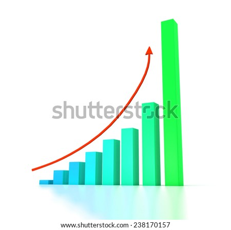 Business graph with arrow over white background with reflection