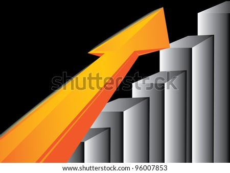 business graph with arrow showing profits and gains. - stock photo