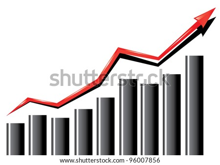 business graph with arrow showing profits and gains.