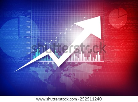 Business graph with arrow showing profits and loss - stock photo