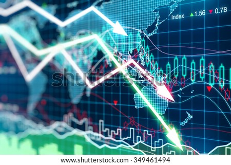 Business graph with arrows tending downwards  - stock photo