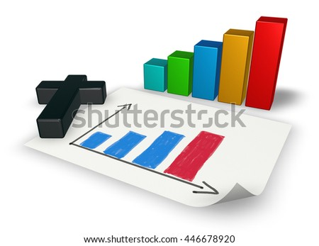 business graph with christian cross - 3d rendering - stock photo