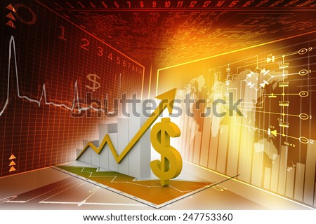 Business graph with dollar - stock photo
