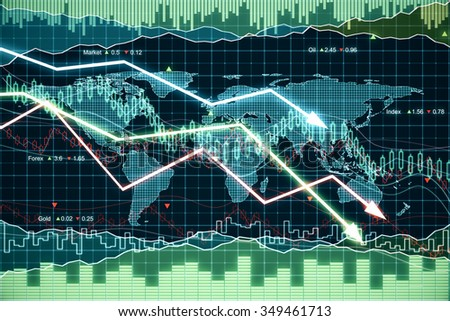 Business graph with glowing arrows tending downwards