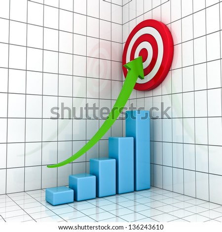 Business Graph with green rising arrow and red target concept - stock photo