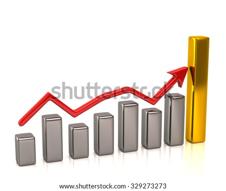 Business graph with red arrow on white background