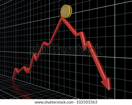 Business graph with red arrow which shows money loss.