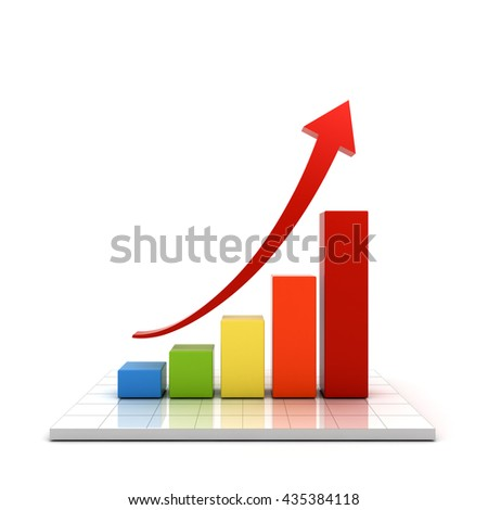 Business graph with red rising arrow over white background with reflection. 3D rendering.