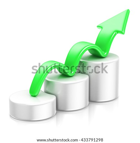 Business graph with rising arrow. 3D illustration. - stock photo