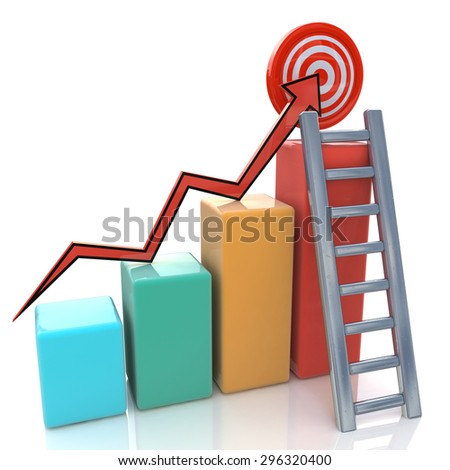 Business graph with rising arrow to target and ladder on white  - stock photo