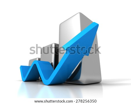 Business Graph With Rising Up Arrow. Success Investment Profit Concept 3d Render Illustration - stock photo