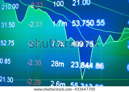Business graph with tending. Stock market data on LED display concept. Stock Market Prices. Candle stick stock market tracking graph. Economical stock market graph. - stock photo