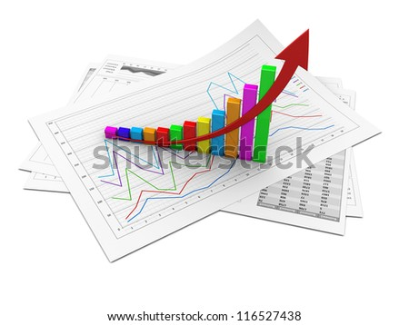 Business graphic with arrow up showing success