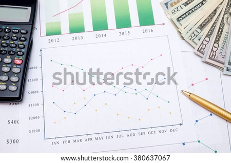 business graphic with money, calculator,  pen