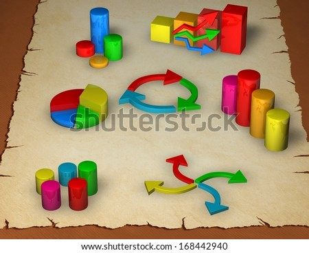 business graphs on paper sheet, analyzing statistics concept background - stock photo